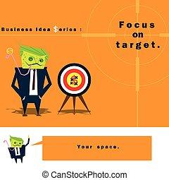 idéia negócio, série, foco, alvo