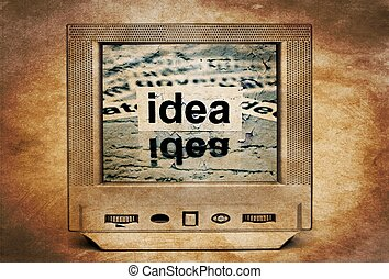 idéia, texto, ligado, vindima, tv