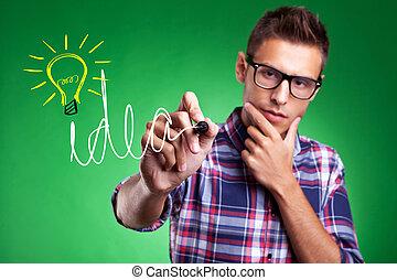 idéia, wrtiting, homem, bulbo, luz, casual
