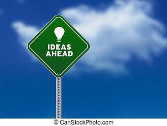 idéias, à frente, sinal estrada