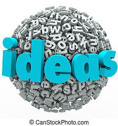 idéias, letra, bola, esfera, criatividade, imaginação