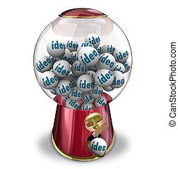 idéias, máquina gumball, muitos, pensamentos, imaginação,...