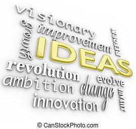 idéias, palavra, fundo, -, inovação, visão, 3d, palavras