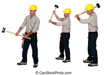 idéntico, sledge-hammers, asimiento, tres hombres