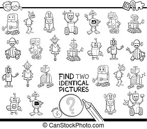 idêntico, cor, quadros, robô, dois, livro, achar