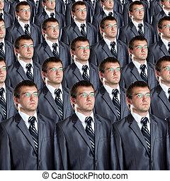 idêntico, muitos, clones, homens negócios