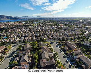 idêntico, vizinhança, superior, casa, aéreo, classe média, subdivisão, residencial, vista