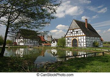 idílico, aldea, charca, en, detmold, (germany)