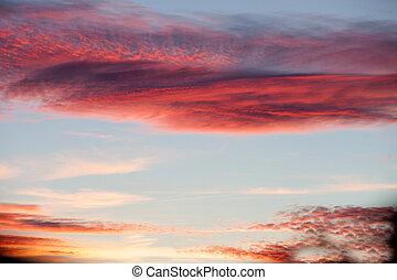 idílico, cielo, rojo