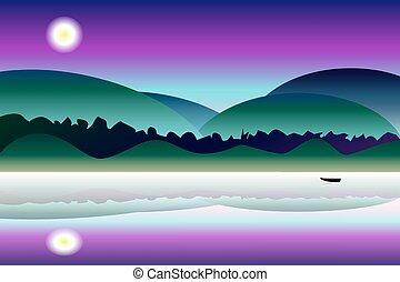 idílico, misterio, noche, paisaje, vector, plano de fondo