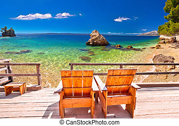 idílico, relajar, cubierta, adriático, silla, playa