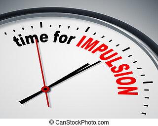 idő, helyett, impulsion