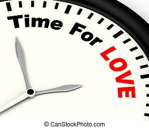 idő, helyett, szeret, üzenet, kiállítás, románc, és, érzések