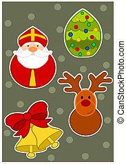 idő, -, karácsony, tapéta, vektor, illustration.