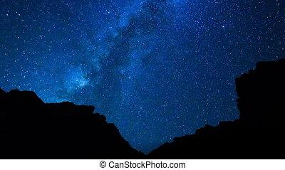 idő megszűnés, közül, éjszaka ég, és, csillaggal díszít