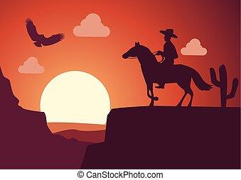 idő, napnyugta, dezertál, cowboy