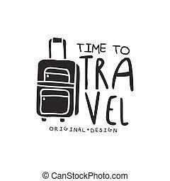 idő, to utazik, jel, noha, utazó, poggyász