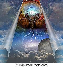 idő, unfolds, -ban, a, alkotás