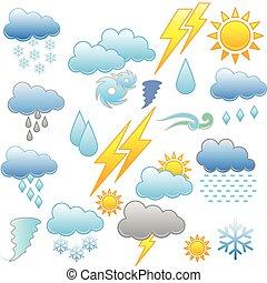 időjárás, ábra, ikon
