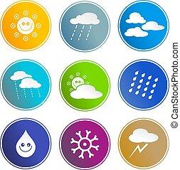időjárás, aláír, ikonok