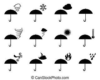 időjárás, esernyő, ikonok
