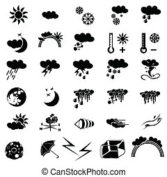 időjárás, fekete, ikonok
