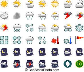 időjárás, ikonok, -, állhatatos, közül, 42, -, vektor
