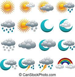 időjárás, sima, színes, ikonok