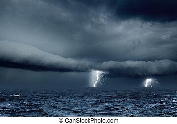 időjárás, stormy tenger