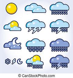időjárás, vektor, gyűjtés, ikonok