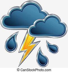 időjárás, vektor, megrohamoz, ikon