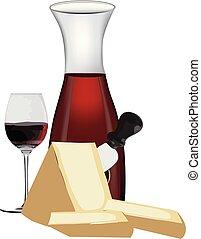 idős, bor, sajtok, palack, piros