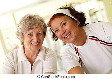idős, nők, boldog