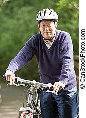 idősebb ember, ázsiai, bringázás