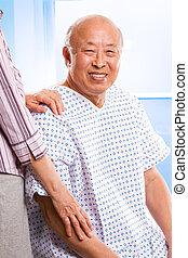 idősebb ember, ázsiai, healthcare