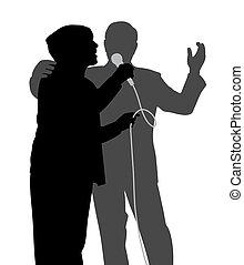idősebb ember, éneklés, duett