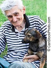 idősebb ember, övé, cimbora, legjobb, boldog