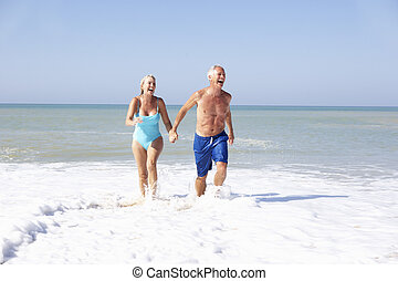 idősebb ember, ünnep, tengerpart, párosít