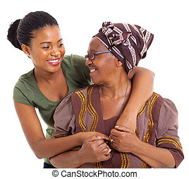 idősebb ember, anya, lány, felnőtt, afrikai