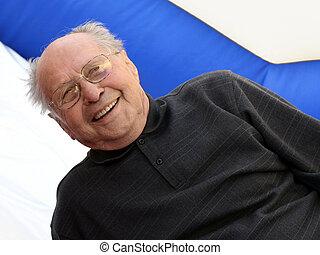 idősebb ember, boldog, ember