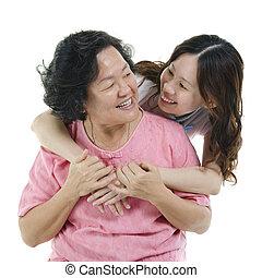 idősebb ember, boldog, lány, felnőtt, anya