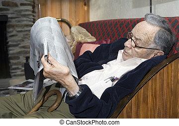 idősebb ember, dolgozat, felolvasás, ember