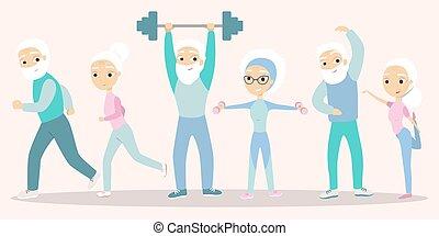 idősebb ember, emberek, exercising.