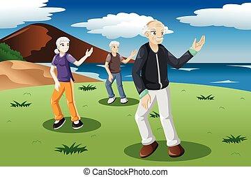 idősebb ember, emberek, gyakorlás, tai-chi, külső