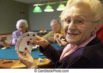 idősebb ember, felnőttek, játék, bridzs