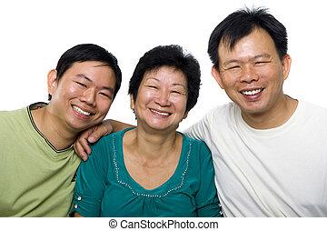 idősebb ember, fiak, felnőtt, anya