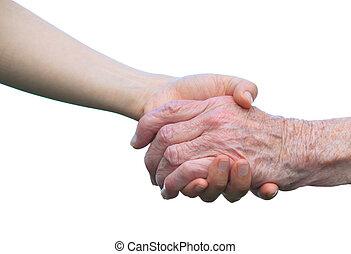 idősebb ember, fiatal, kézbesít