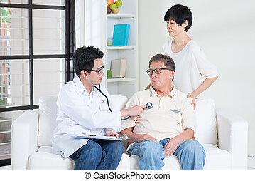 idősebb ember, fogalom, emberek, healthcare