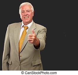 idősebb ember, gesztus, ember