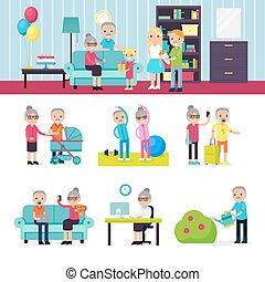 idősebb ember, gyűjtés, emberek